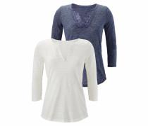 Shirt (2 Stück) marine / weißmeliert