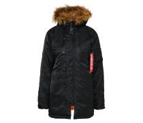 Winterjacke mit Kapuze schwarz