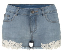 Hotpants mit Spitze hellblau