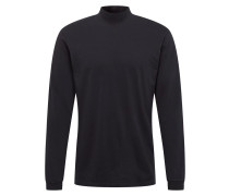 Shirt 'High Collar TS LS' schwarz