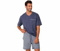 Pyjama kurz taubenblau / grau