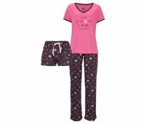 Pyjama-Set (3-teilig) mit langer Hose und Shorts