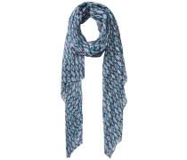 Langer Print Schal blau