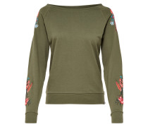Stickerei Sweatshirt oliv