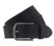 5a84ede2e1180f Ledergürtel '3.5cm' schwarz / silber. Vanzetti