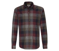 Hemd dunkelblau / grau / rot