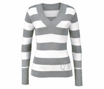 V-Ausschnitt-Pullover grau / weiß