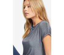 T-Shirt 'oliana Solid' grau / petrol