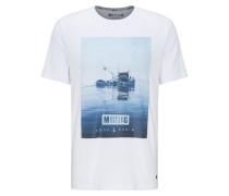 Shirt 'Alex C Photoprint' blau / weiß