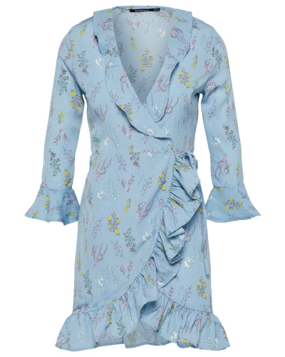 Blusenkleid 'Bethany Wrap' hellblau