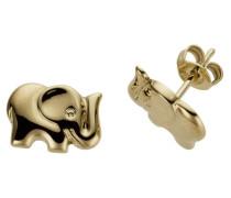 Ohrstecker 'Elefanten' goldgelb
