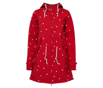 Outdoorjacke 'Island Friese Dots' rot / weiß