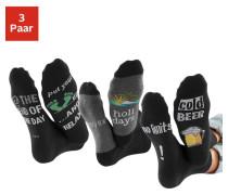 Socken (3 Paar) mit Bier Print