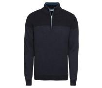 Pullover 'zip troyer stru' dunkelblau