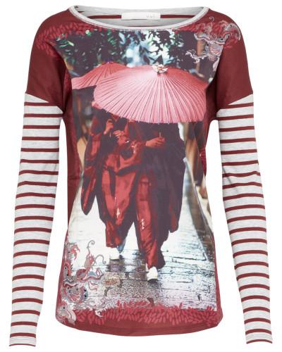 T-Shirt mit Fotoprint hellgrau / bordeaux