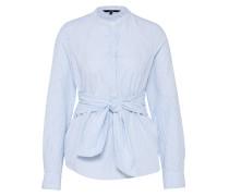 Bluse zum Binden blau / weiß