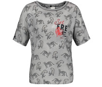 T-Shirt graumeliert / rot / schwarz