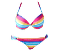 Push-up-Bikini blau / gelb / pink