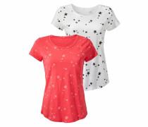 T-Shirt (2 Stück) koralle / weiß
