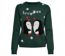 Pullover grün / rot / schwarz / weiß