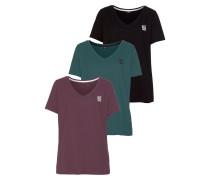T-Shirts petrol / pflaume / schwarz