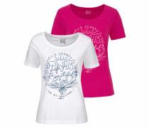 Rundhalsshirt pink / weiß