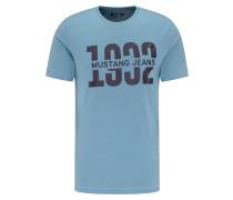 T-Shirt 'Alex C Print' navy / himmelblau