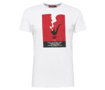 T-Shirt 'Pipe' rot / weiß