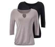 ¾-Shirts (2 Stück) taupe / schwarz