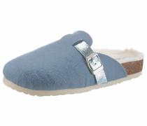 Pantoffel hellblau / braun / weiß