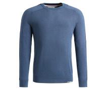 Pullover 'slim' taubenblau / grau / rot