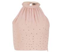Chiffontop mit Swarovski Kristallen rosa