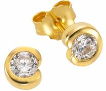 Paar Ohrstecker gold / weiß