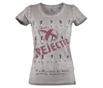 Shirt grau / himbeer / schwarz