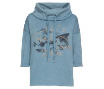 Sweatshirt blaumeliert / schwarz / silber