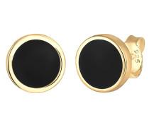 Ohrringe 'Geo' gold / schwarz