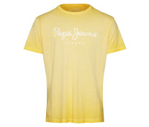 T-Shirt 'west Sir' gelb / weiß