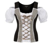 Shirt 'Taja' braun / schwarz / weiß
