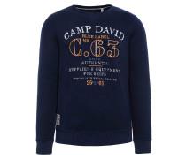 Sweater nachtblau / orange / weiß