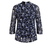 Gemusterte Bluse mit 3/4 Ärmeln blau / weiß