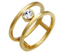 Ring Kristall Ring Solitär-Ring gold
