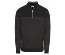Pullover 'zip troyer stru' anthrazit