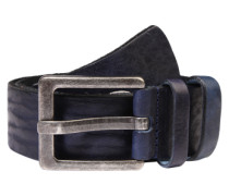 Ledergürtel 'Basic' mit Zier-Cut dunkelblau