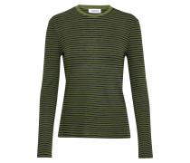 Langarmshirt 'Jenna' khaki / schwarz