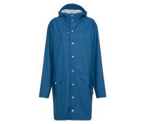 Long-Mantel mit Kapuze blau