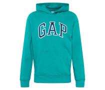 Sweatshirt 'arch PO HD' grün / weiß