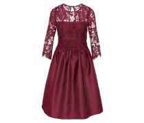 Abendkleid mit Spitze und Taft rotviolett