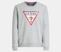 Sweatshirt graumeliert / hellrot / weiß