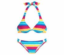 Bügel-Bikini cyanblau / gelb / pink