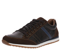 Sneaker Low in Leder-Optik braun
